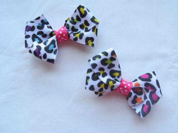 Neon Rainbow Leopard Small piggie set Baby Girl Hair Bows SweetXDarlings