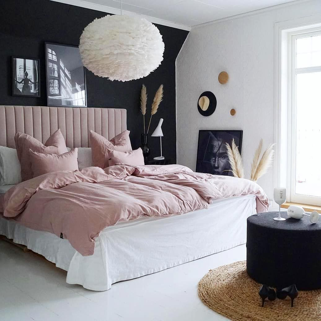 Home Decor Furniture Inspo On Instagram This Color Palette Really Works Out Beautifully Dusty Pink Black An In 2020 Dusty Pink Bedroom Home Decor Bedroom Decor