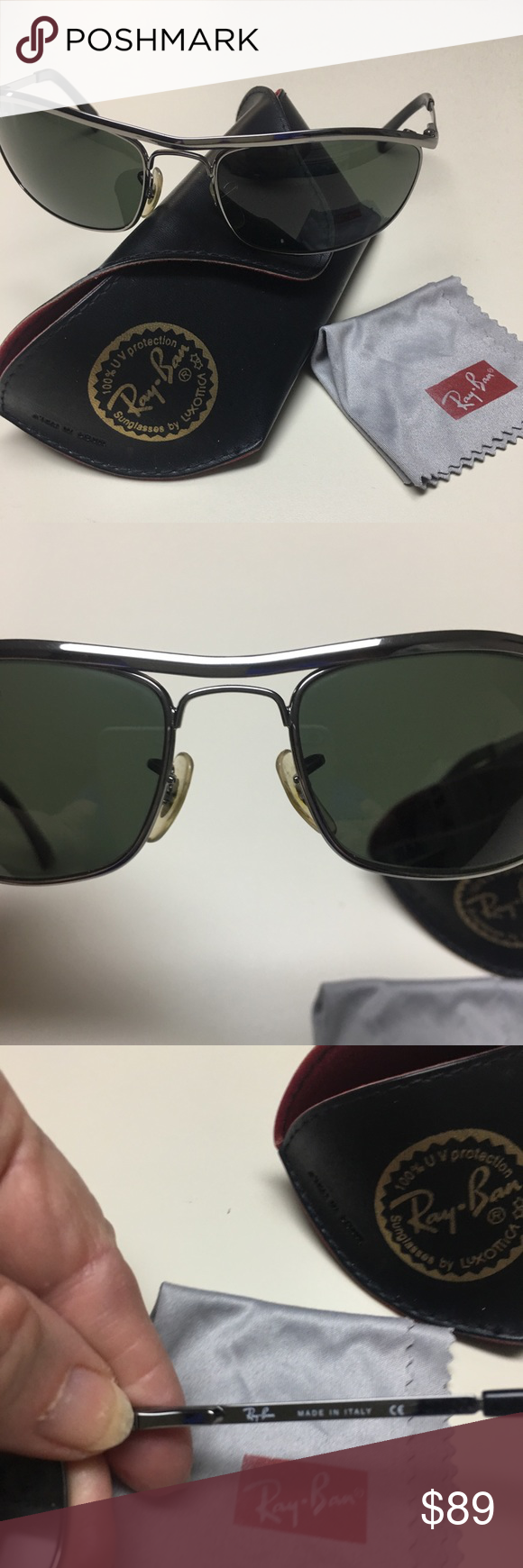 c0b84dabc58 RAY BAN SUNGLASSES WITH CASE CLEANING CLOTH RAY BAN SUNGLASSES WITH CASE.  IN EXCELLENT