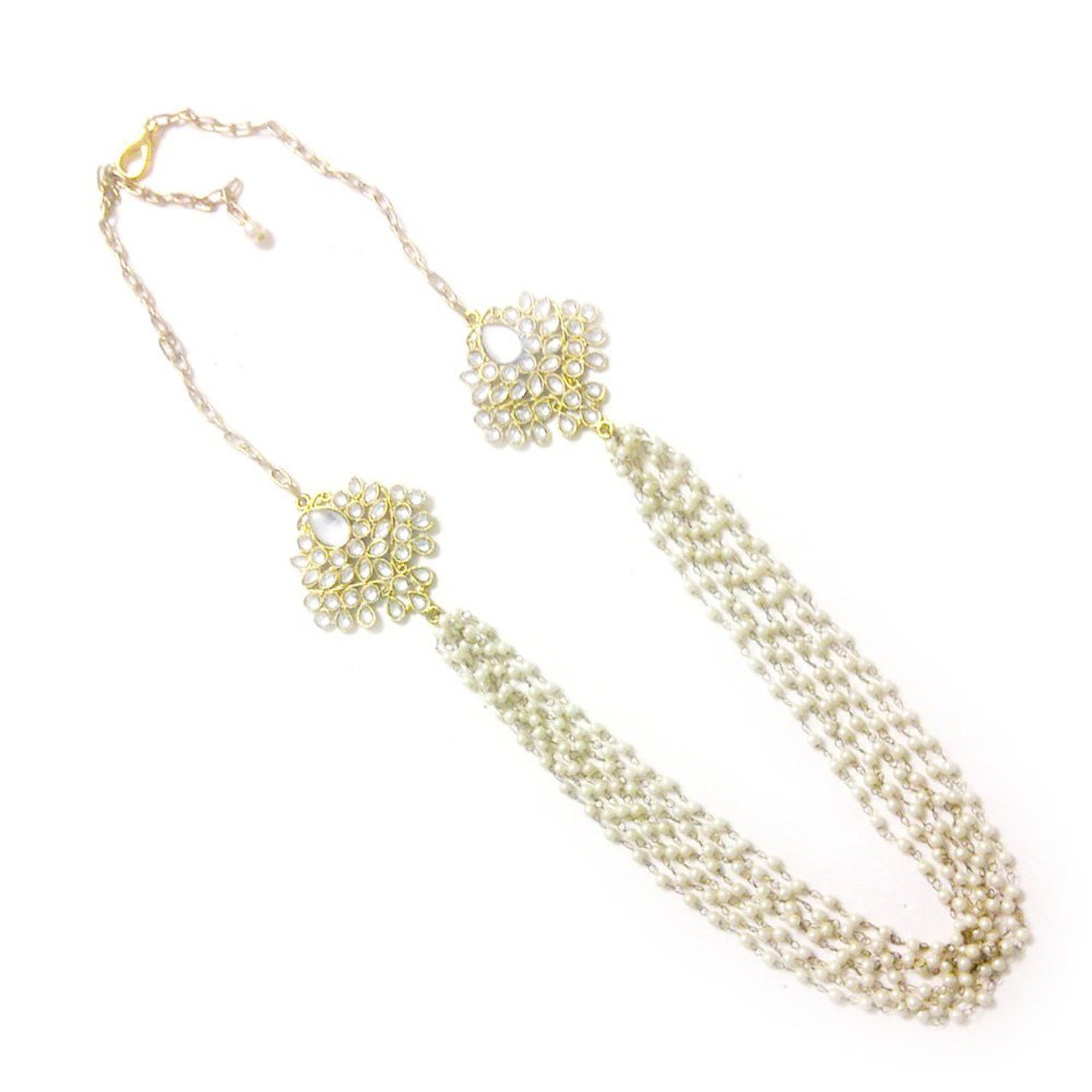 Buy Barohk White Kundan And Linked Pearl Necklace For Women Online at Low Prices in India | Amazon Jewellery Store - Amazon.in