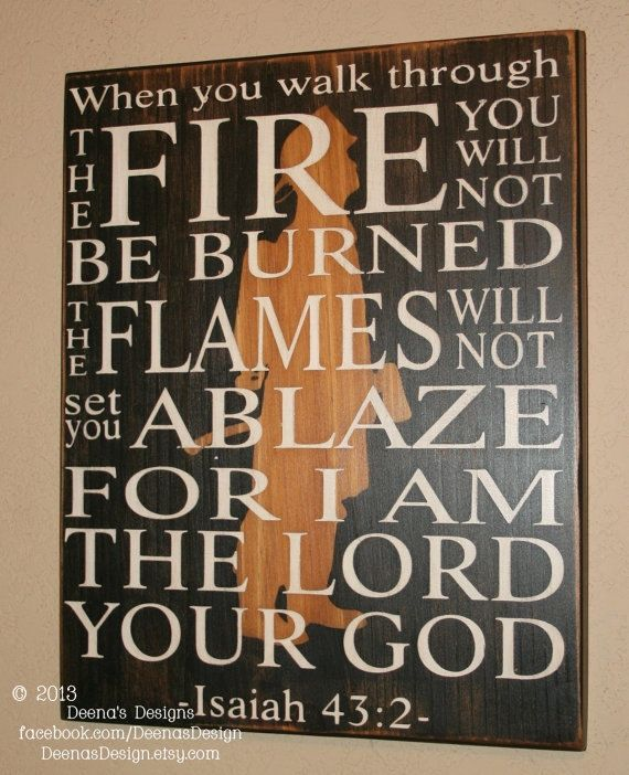 Distressed Wall Decor isaiah 43:2 with silhouette, firefighter decor, distressed wall