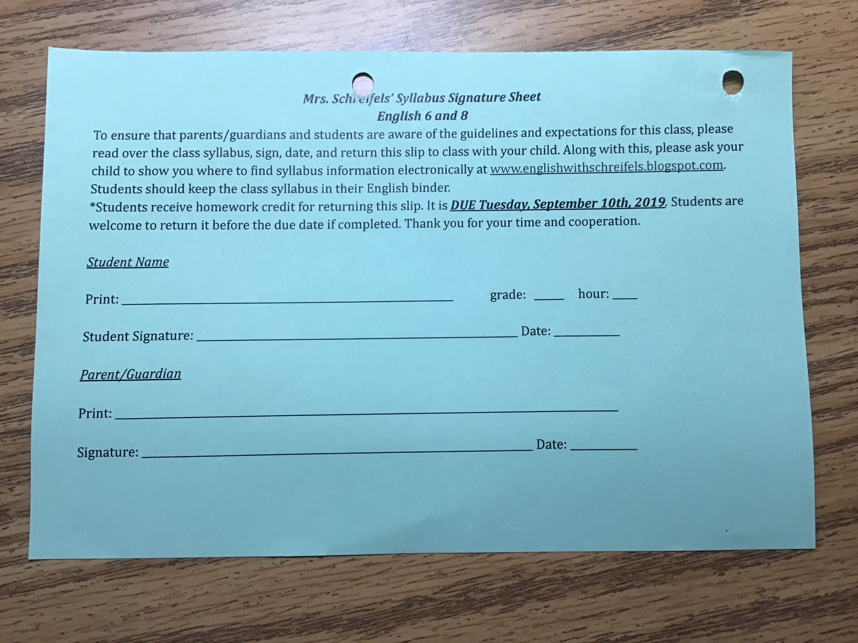 Syllabus Signature Sheet 9 10 19 In