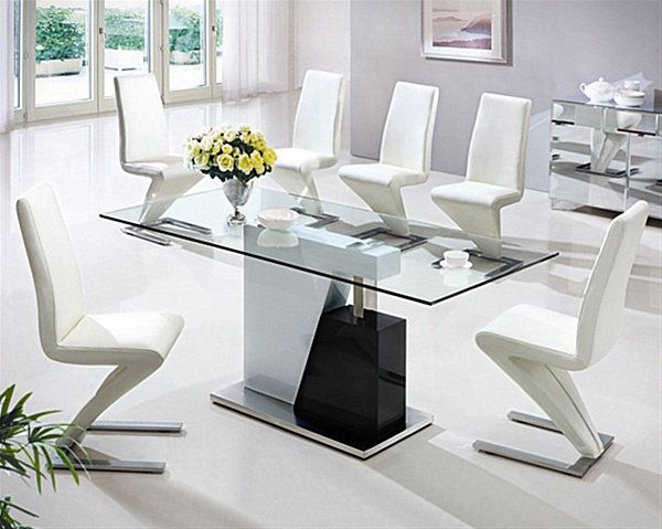 Nice Stylish Sleek Glass Dining Tables With Grey Wall Glass Window White Curtain  Wall Art Glass Dining Table Stainless Steel Chairs Ceramic Floor Design
