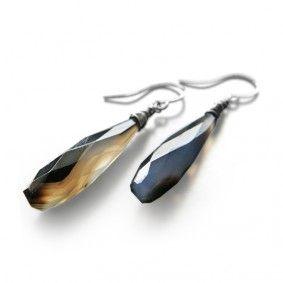 Black & Brown Agate Earrings