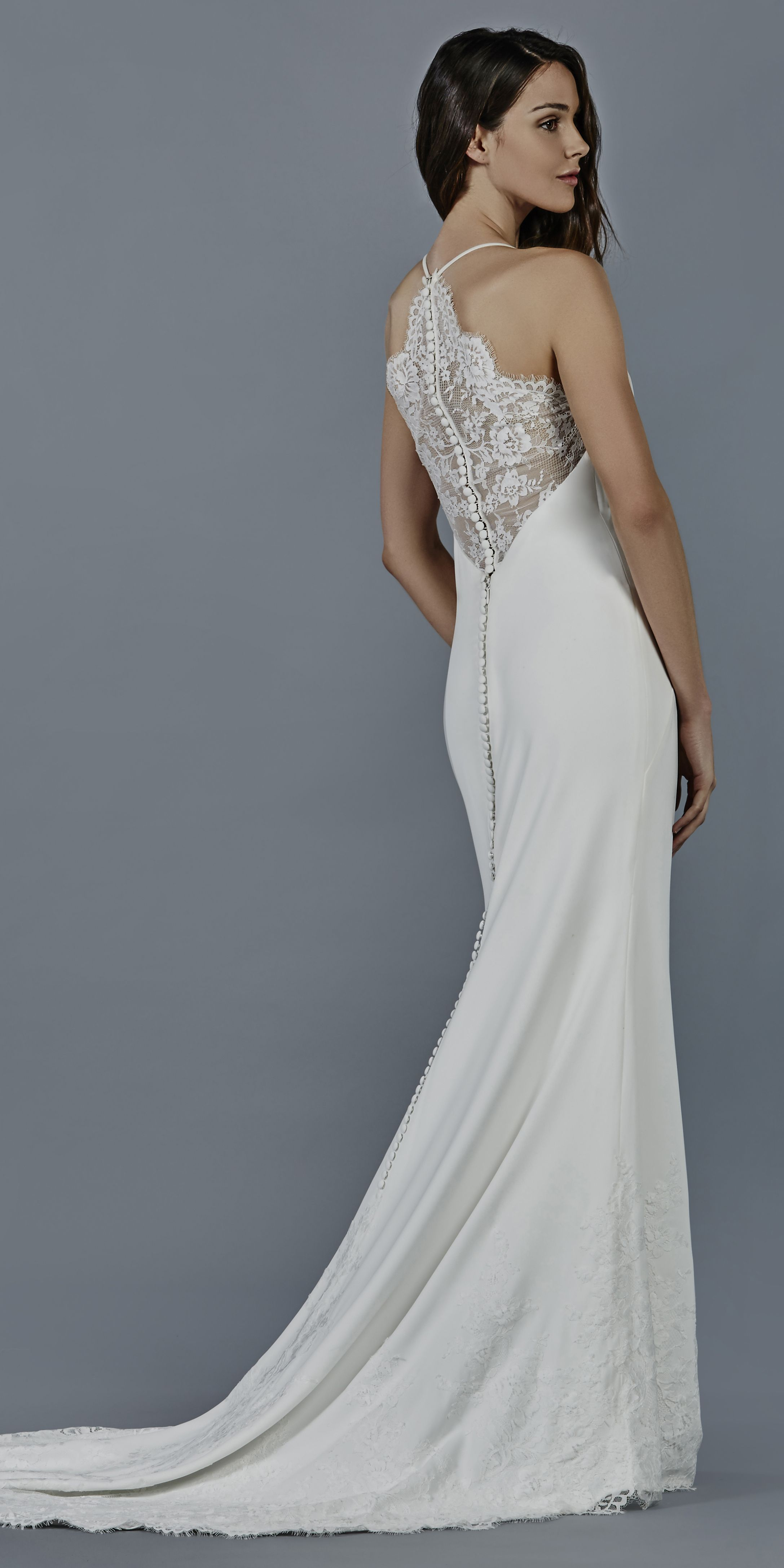 Crepe Slim Gown With Halter Neckline And Illusion Chantilly Lace