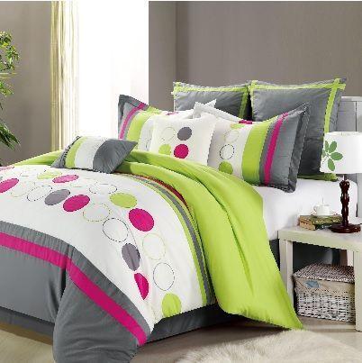 Lime Green Gray Pink Reversible Comforter Set Green Bedding