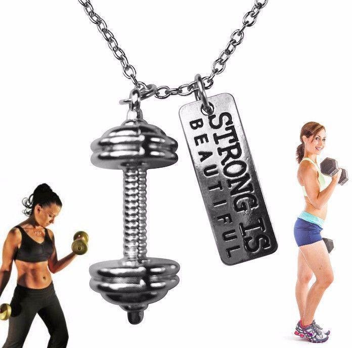 Free Strong Is Beautiful Pendant And Chain Necklace Bijuterias Saude E Fitness Vida Saudavel