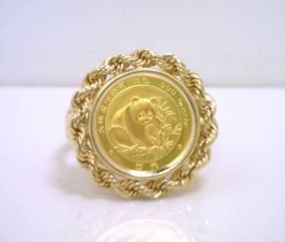 1988 Panda 1 20 Oz 999 Gold Coin Ring 10k Yg Coin Ring Gold Coin Ring Indiana Jewelry