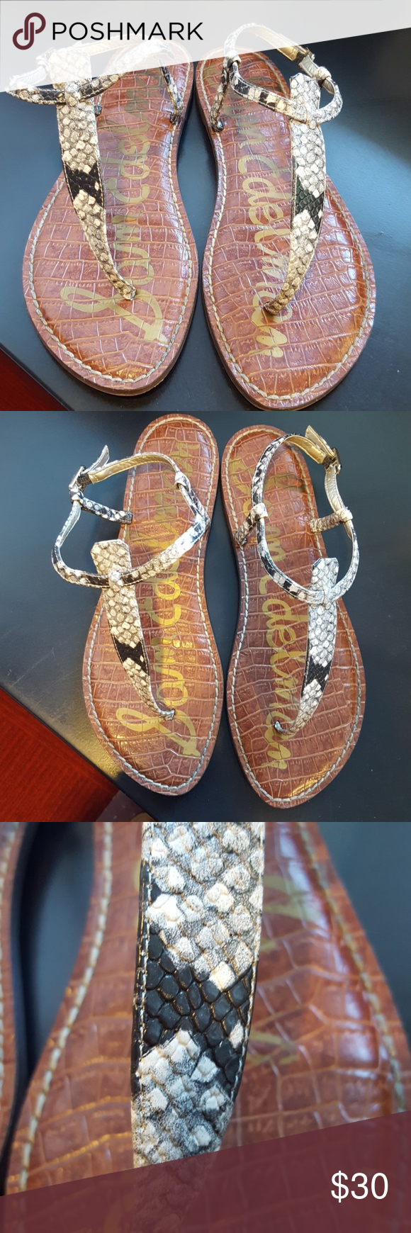 b5bf54ff4c5959 Sam Edelman Gigi Thong Sandal Putty Snake Size 9 Ankle strap Closure buckle  Toe  open Condition is good Sam Edelman Shoes Sandals