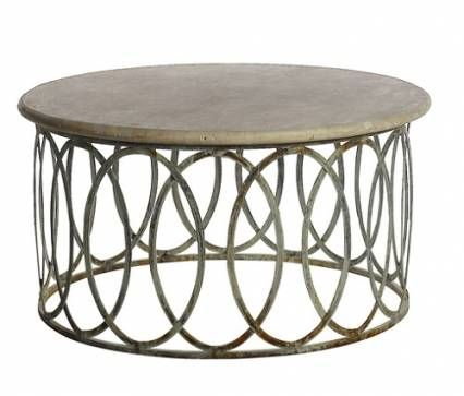 Salinas Round Coffee Table with Light Travertine Top in Deep Ocean