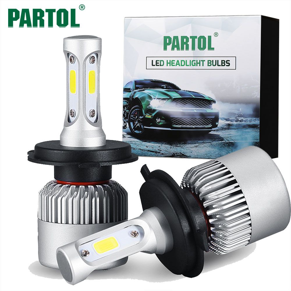 Partol S2 H4 H7 H13 H11 H1 9005 9006 H3 9004 9007 9012 Cob Led Headlight 72w 8000lm Car Led Headlights Bulb Fog Light 6500 Led Headlights Car Headlight Bulbs Headlight Bulbs