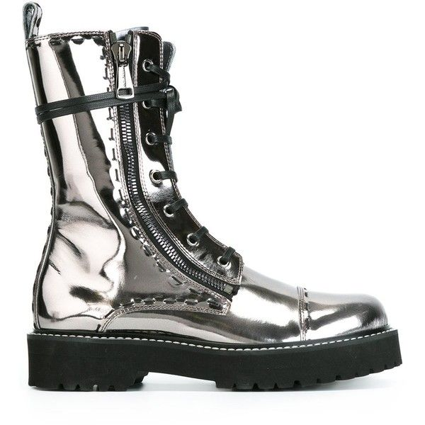 Dolce & Gabbana metallic combat boots (3.070 RON) ❤ liked on Polyvore featuring shoes, boots, grey, grey boots, grey leather boots, grey mid calf boots, lace up boots and gray combat boots
