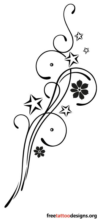 feminine tribal tattoo design with stars and flowers tattoos pinterest tribal tattoo. Black Bedroom Furniture Sets. Home Design Ideas