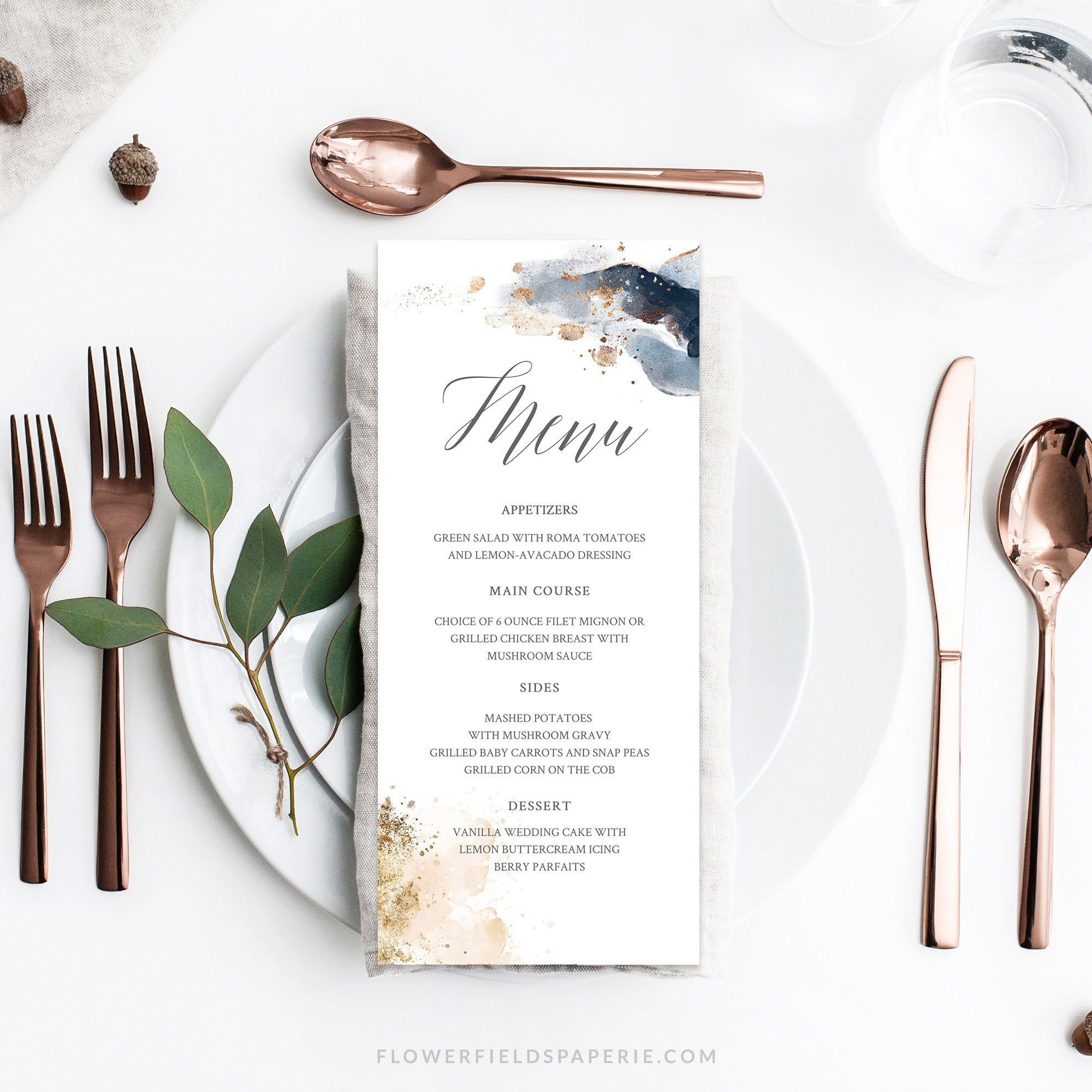 Wedding Menu Template, Wedding Dinner Menu, Navy Blush and Gold Reception Card Printable, Luxury Watercolor Wedding Menu Template #023-119 #weddingmenutemplate