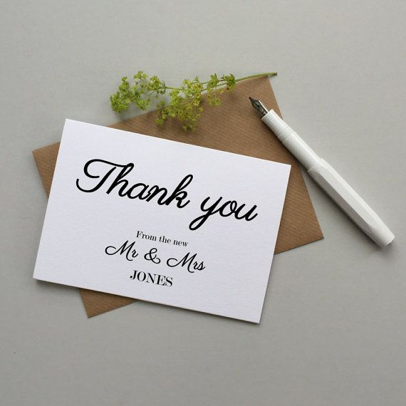 Wedding Thank You Cards Set Of 10 Personalised Wedding Thank You