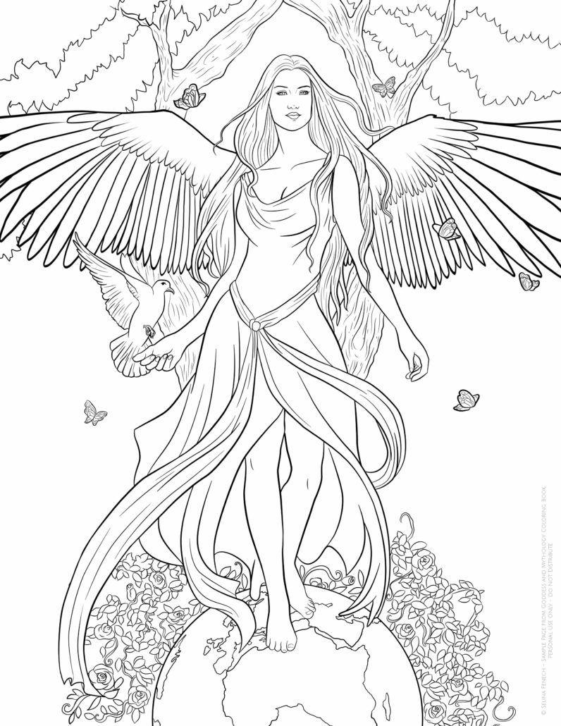 greek goddess gaia coloring pages | Selina Fenech Goddess Gaia | Adult coloring pages, Angel ...