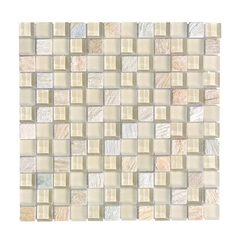 Miseno Mt Earth1sq Earth 1 X 1 Glass Visual Wall Tile Sold By Sheet Beige Flooring Tile Mosaic Mosaic Tiles Wall Tiles Stone Mosaic Tile