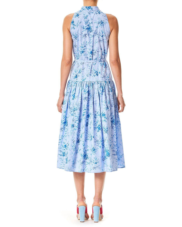 1faed2bda8a7 Carolina Herrera Button-Front Sleeveless Floral-Print Poplin Midi Dress