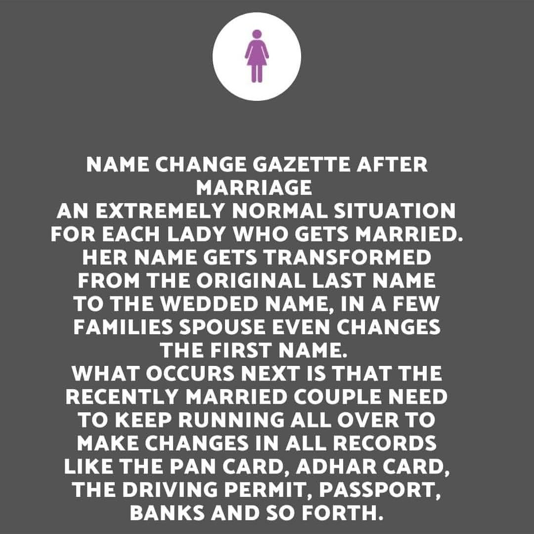 NAME CHANGE GAZETTE AFTER MARRIAGE AN EXTREMELY NORMAL