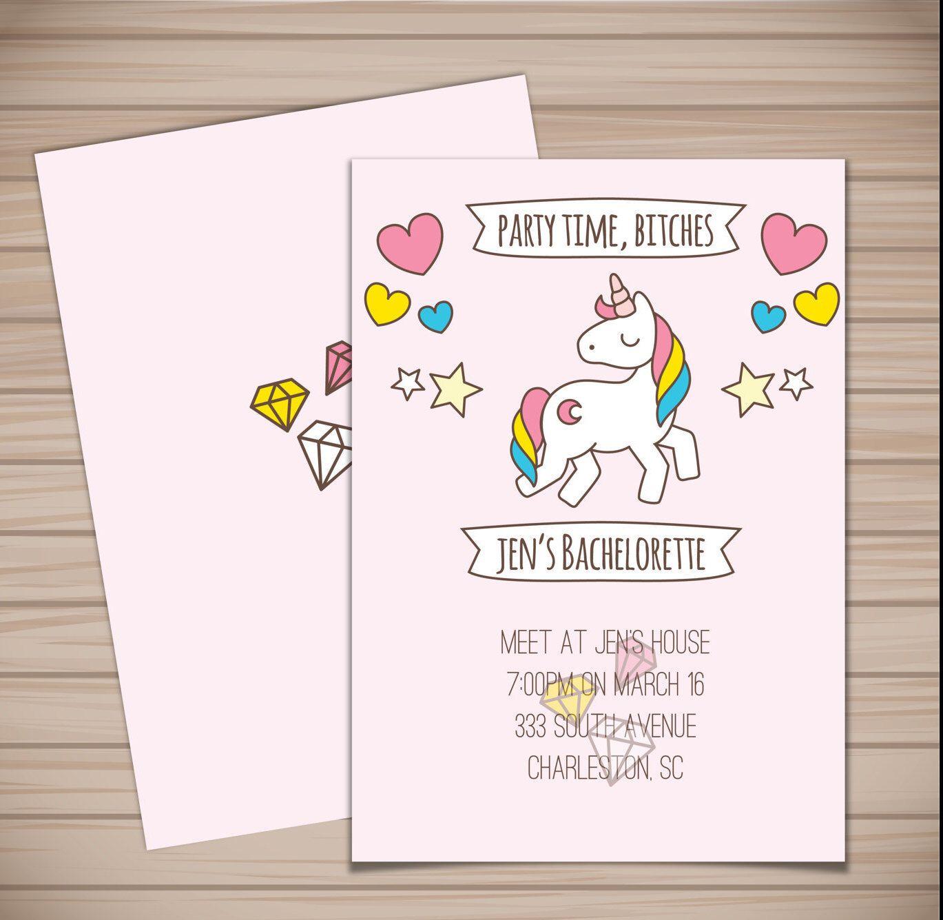Printable Unicorn Bachelorette Party Invitation Party Time Bitches