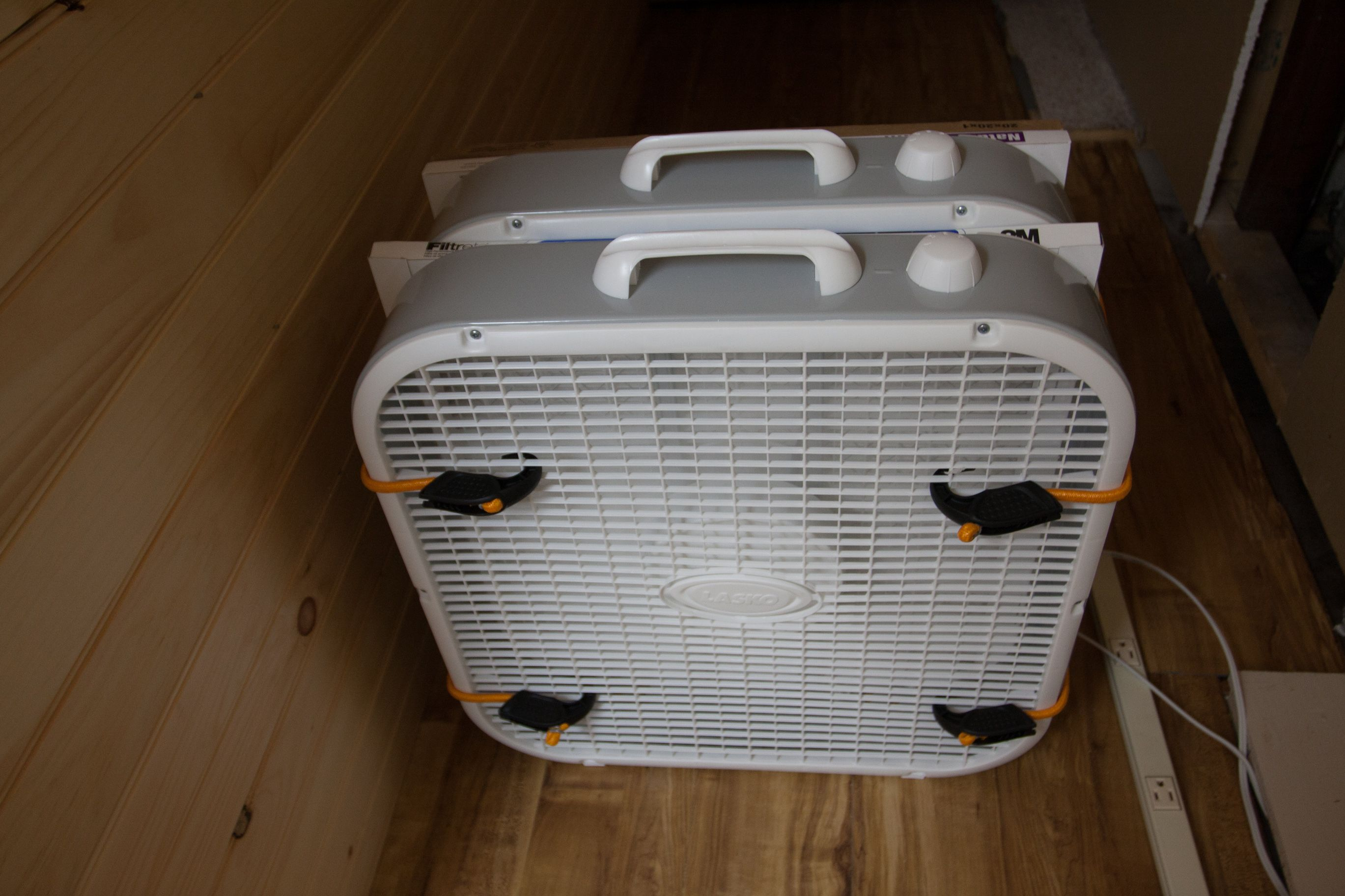 Three Stage Double Box Fan Air Filter So Smart When Working With Sawdust Clay Dust Etc Box Fan Air Filter Window Fans