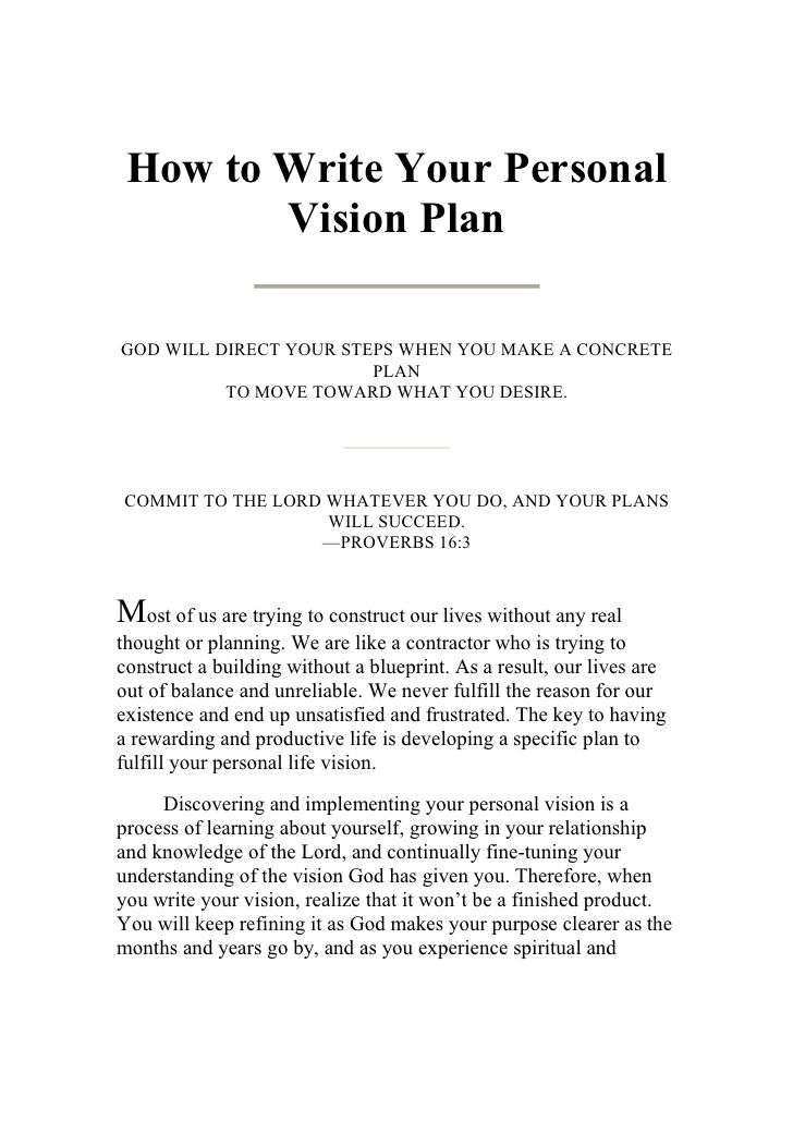 Writing Your Personal Vision Plan Vision Statement Examples