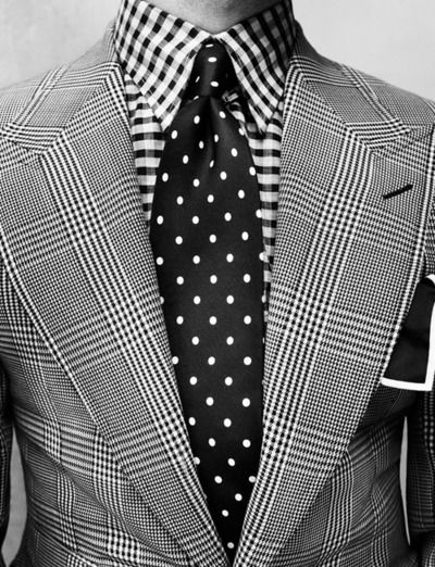 Suit by Tom Ford  A controversial combination of patterns.