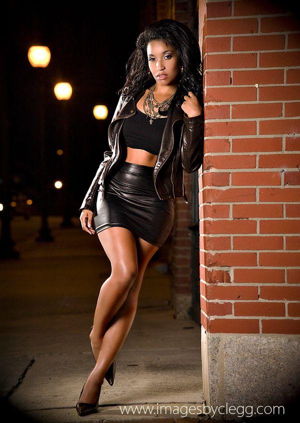 Ebony in short skirt