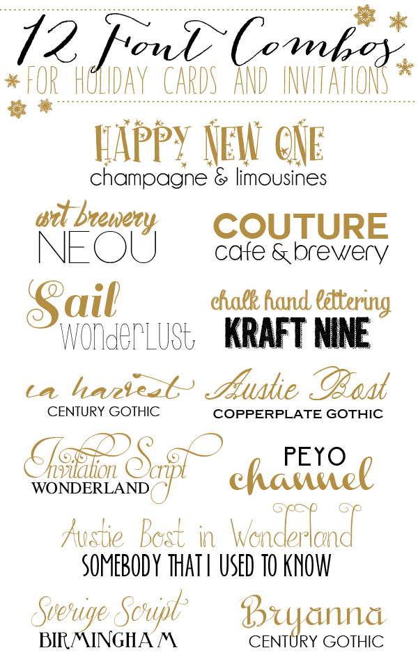 12 font combos for holidays cards and invitations pinterest font combinations for holiday cards and invitation stopboris Gallery