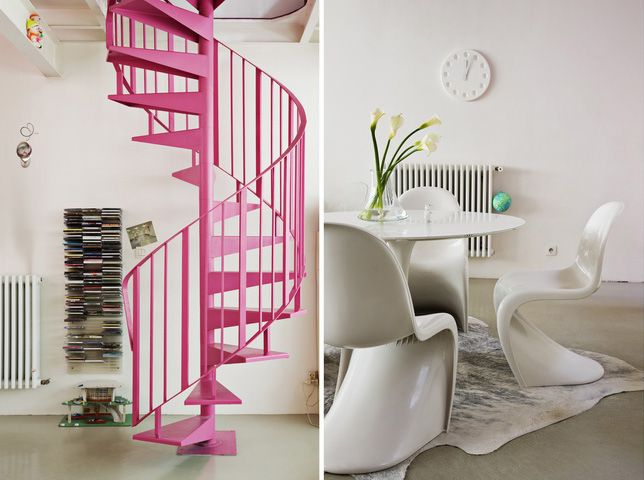 Who Doesnu0027t Need Pink Stairs? #white #living #room/ Panton