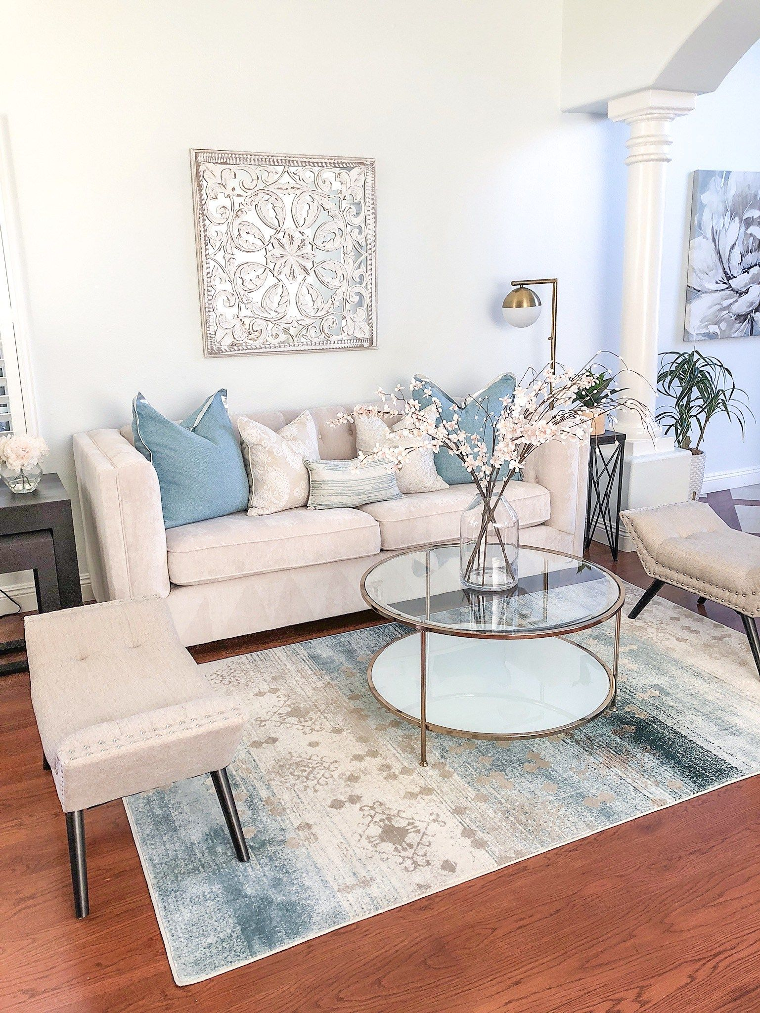 Best Drab To Fab Living Room Design Cream And Blue Living 640 x 480