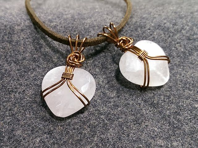 Pendant wire wrapped heart-shaped stone without holes - Free ...