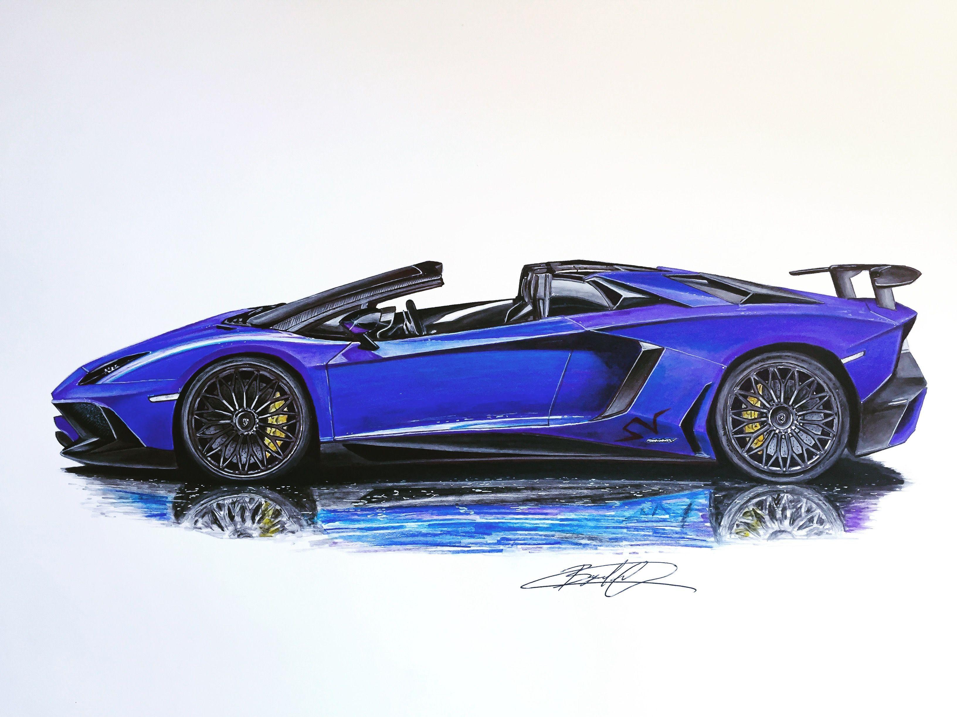 Lamborghini Aventador SV Roadster | Drawing Supercar by Filo | Pinterest