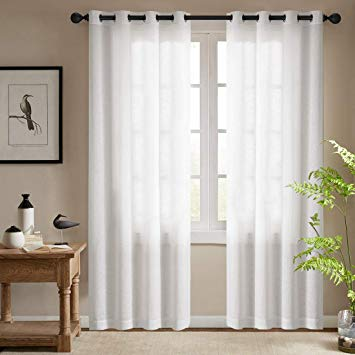 Amazon Com White Semi Sheer Curtains For Bedroom Casual Weave