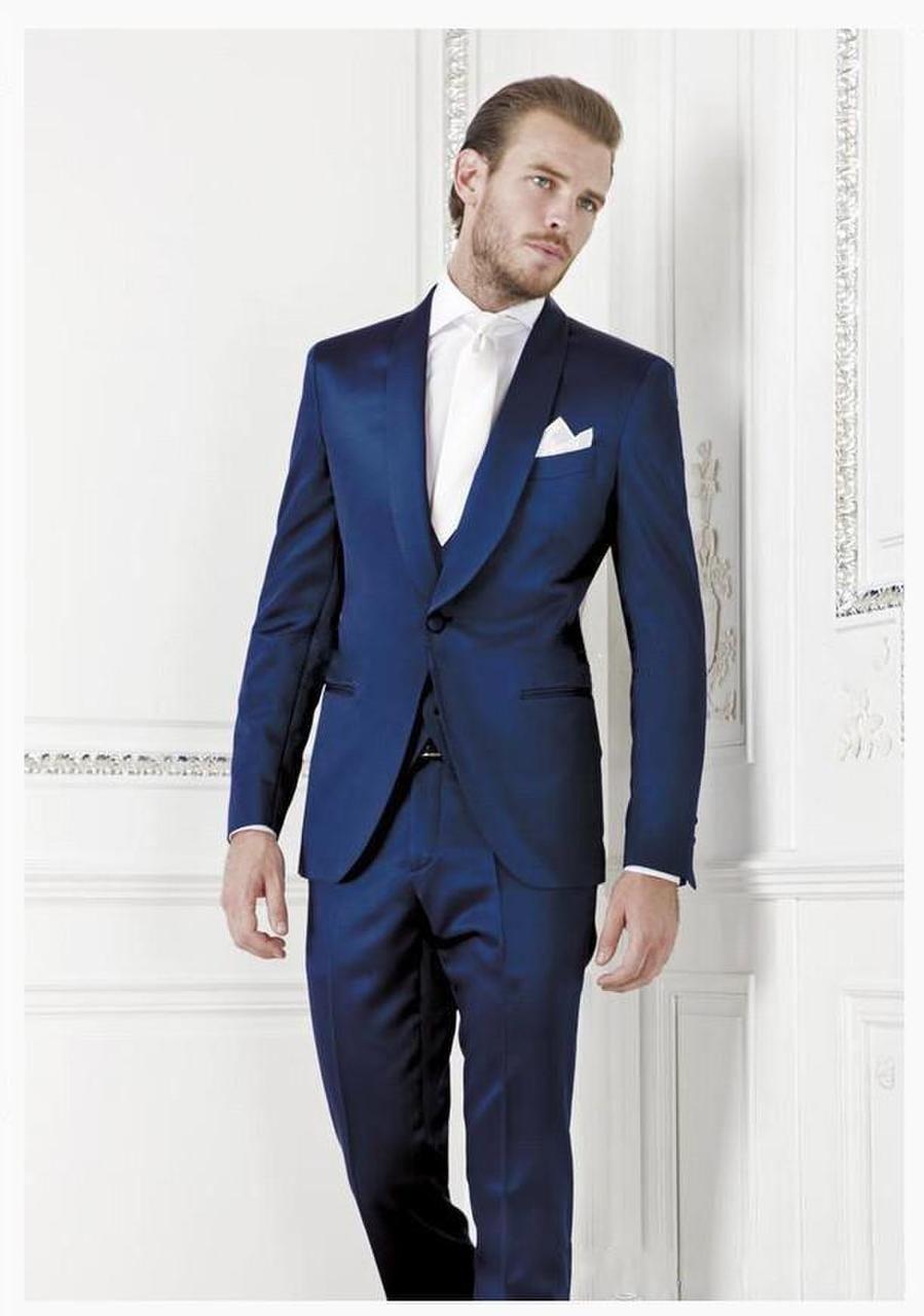 Pas cher 2015 nouveaux costumes pour hommes sur mesure nouvelle marine  costume bleu un bouton s 68e8e8382d2