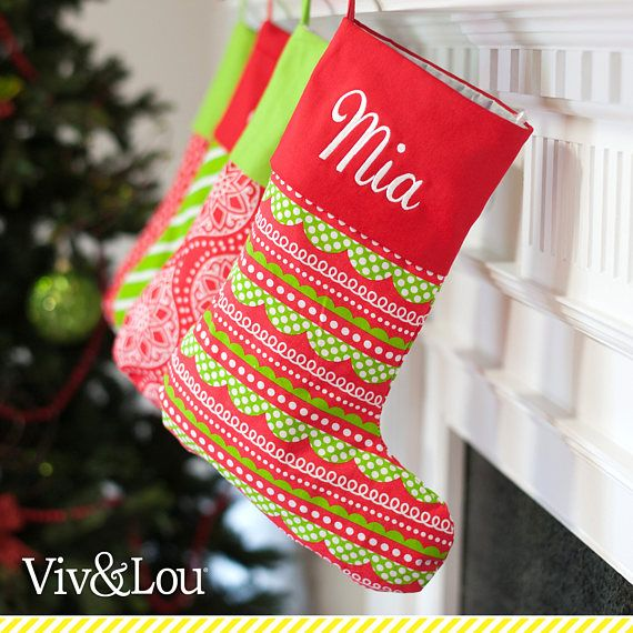 Red  Green Pattern Monogrammed Christmas Stockings - Family