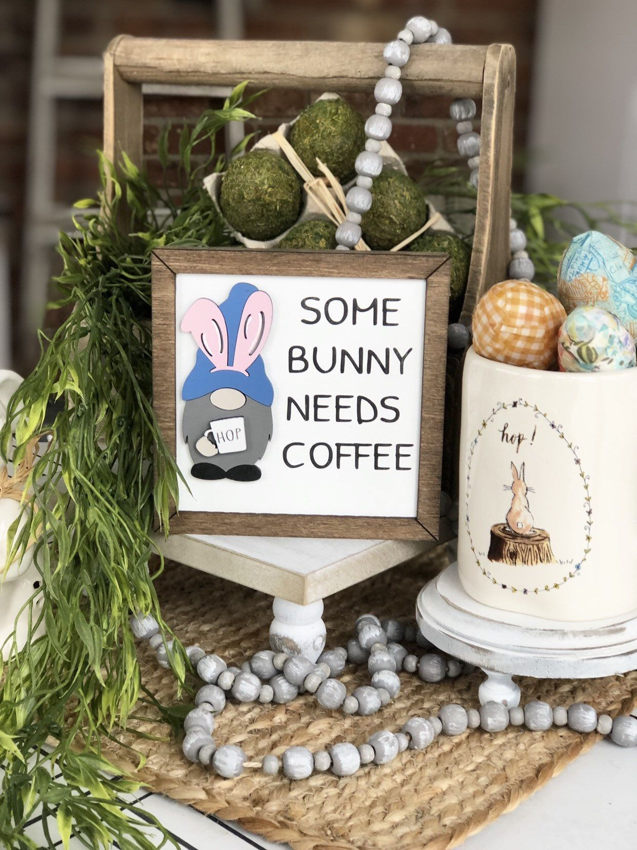 Tiered tray bunny gnome holding Rae Dunn inspired mug | some bunny needs coffee | faux frame 3D wood sign #inspirationalmugs Excited to share this item from my #etsy shop: Tiered tray bunny gnome holding Rae Dunn inspired mug | some bunny needs coffee | faux frame 3D wood sign #easterraedunn #raedunninspired #homedecor #eastergnome #bunnygnome #tieredtraygnome #3dsign #coffeesign