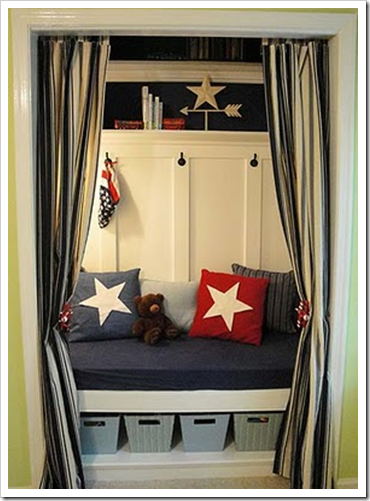 Superb Put A High Backed Bench In A Doorless Closet With Soft Lighting And Curtains