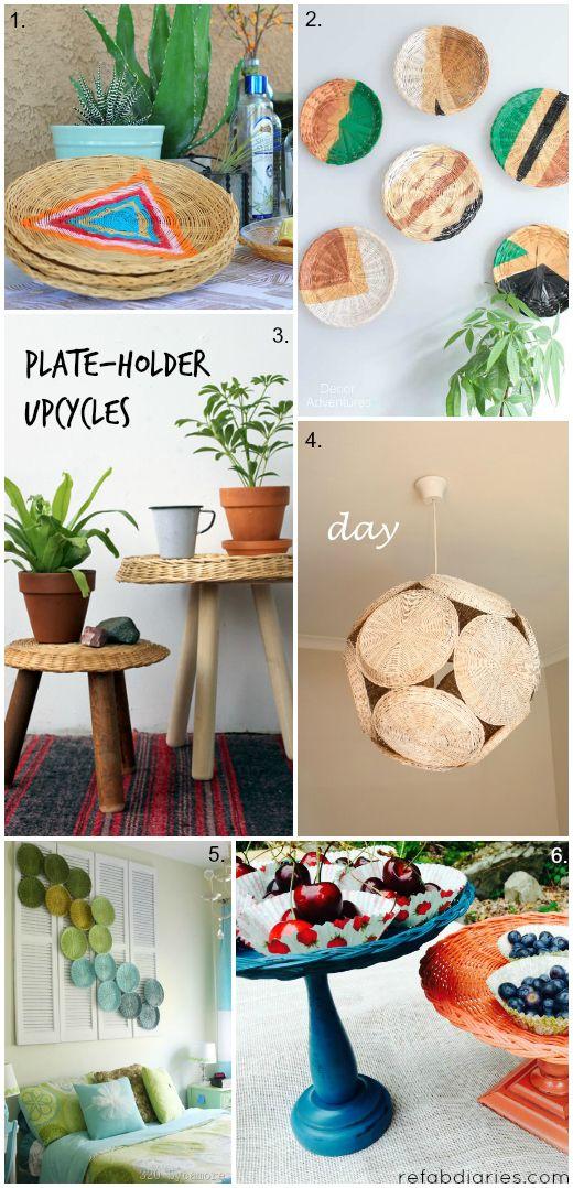 6 Ways To Repurpose Those Old Kinda Odd Wicker Plate Holders Paper Plate Holders Plate Holder Paper Plate Basket