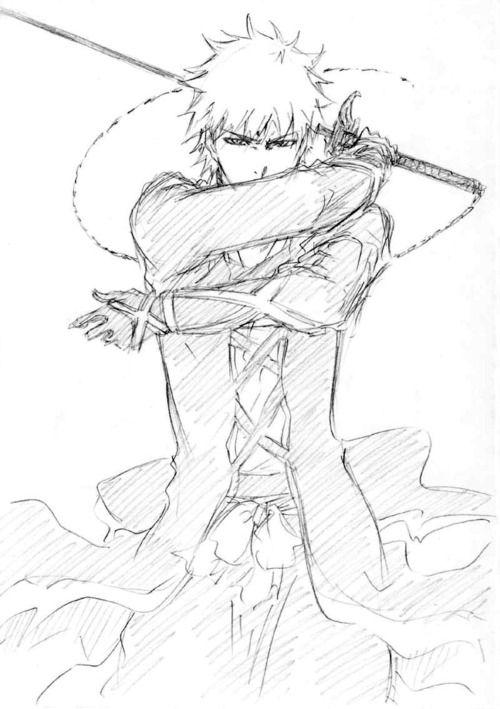 Bleach   Kurosaki Ichigo   Sketch   Para Dibujar   Pinterest   Manga ...
