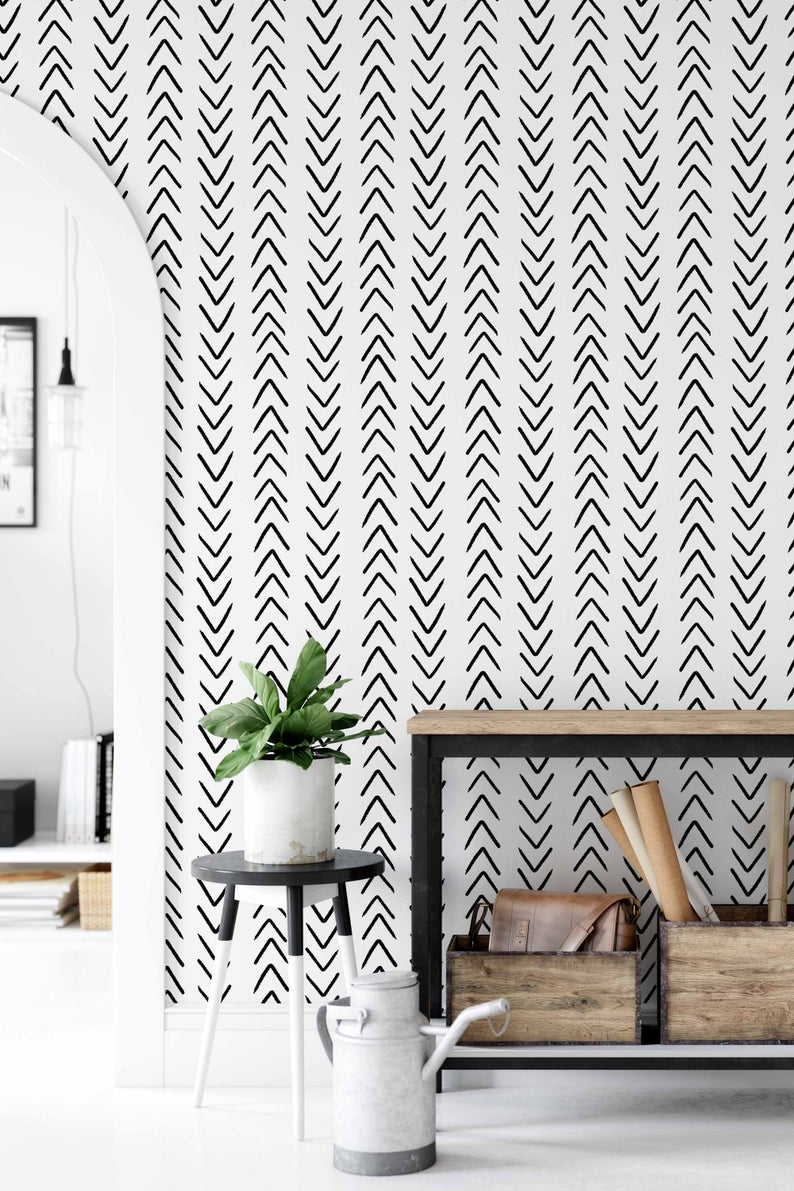 Peel And Stick Wallpaper With Chevron Pattern Removable Etsy Peel And Stick Wallpaper White Wallpaper Black And White Wallpaper