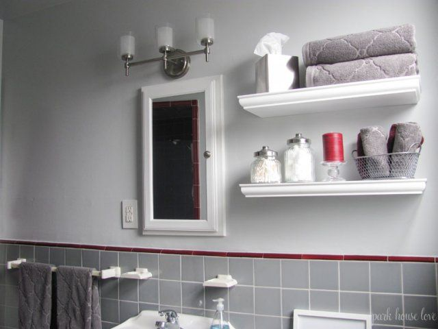 Bathroom Update: Gray Walls and Red Accent Colors | Toilet ...