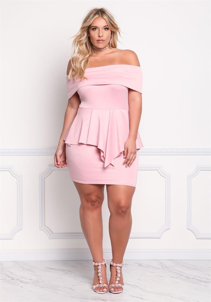 Plus Size Clothing | Plus Size Fold Over Peplum Bodycon Dress ...