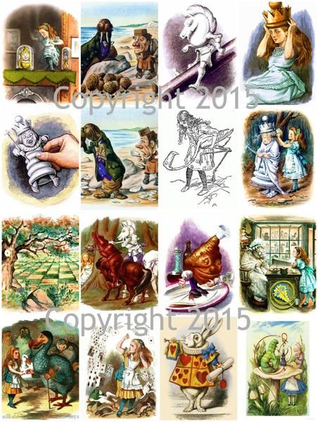 Alice in Wonderland by John Tenniel Collage Page 16 images on a sheet Can be used for any art project, altered art, decoupage, jewelry etc Professionally printe