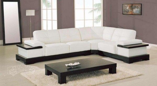 White leather corner sofa in minimalist living room - White Leather Corner Sofa In Minimalist Living Room Class