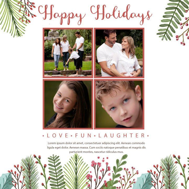 PERSONALISED HOLIDAY GREETING CARD PRINTABLE TEMPLATE WITH FREE ...