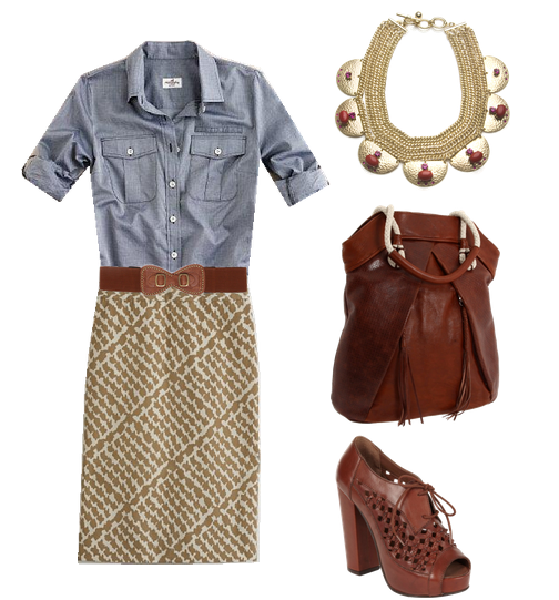 Denim tops + Skirts! Items with links: Unknown Designer Denim Shirt, J. Crew Abstract Lattice Pencil Skirt, Papaya Elastic Wide Belt, Sequin Cleopatra Red Statement Necklace, Nanette Lepore  Tote, Faith Carolyn Platforms.