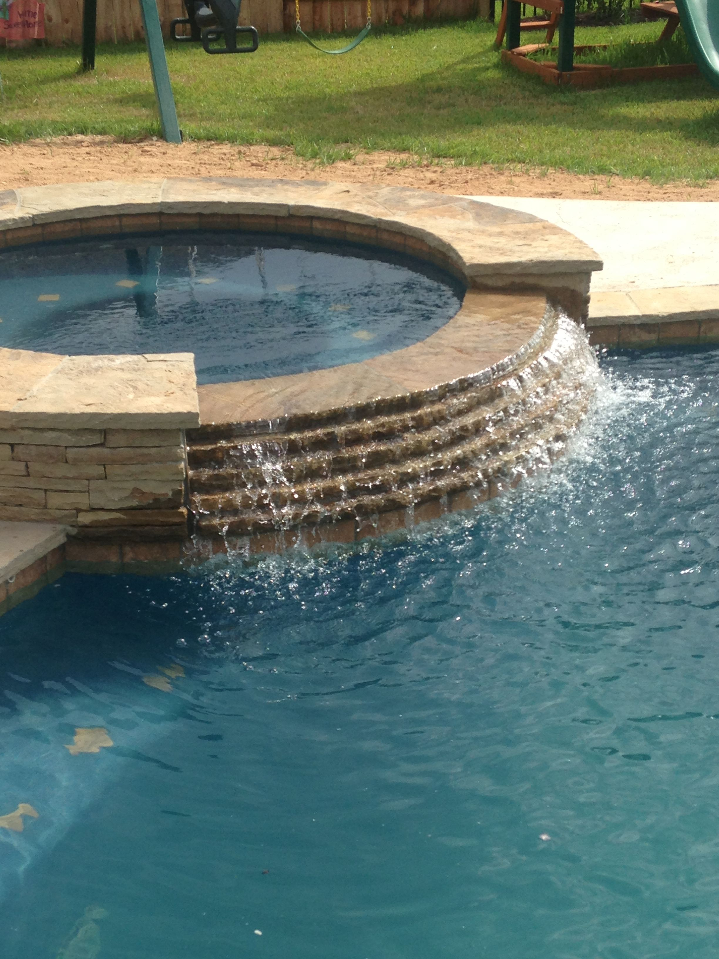 Inground swimming pool spa spillway stacked stone spillway for Water pool design