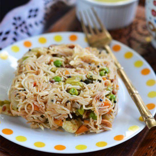 Vegan Vegetable Semiya Upma Or Vermicelli Upma Is Popular South