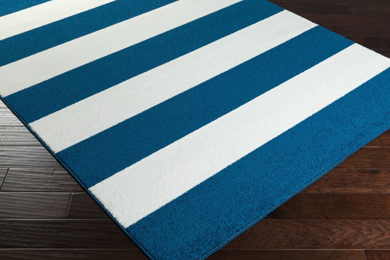 Cobalt Blue and Ivory Striped Plush Rug